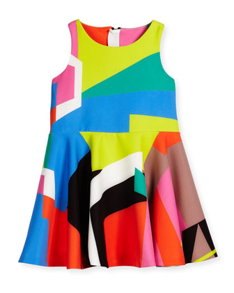 Sleeveless Printed Circle Dress, Multicolor, Size 8-14