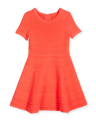 Short-Sleeve Jacquard Fit-and-Flare Dress, Fluo Melon, Size 8-14