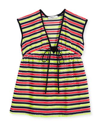 Marina Striped Crochet Coverup, Multicolor, Size 8-14