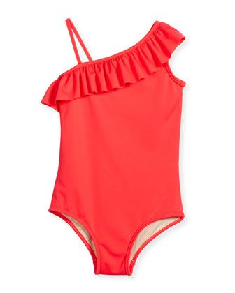 Ruffle-Trim Italian Solid One-Piece Swimsuit, Watermelon, Size 8-14