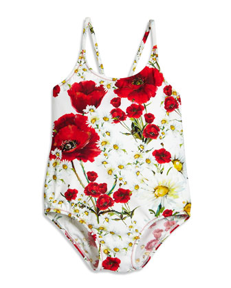 Floral One-Piece Swimsuit, White, Size 4-6