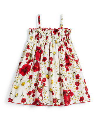 Sleeveless Floral Poplin Sun Dress, White, Size 4-6