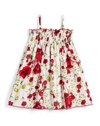 Sleeveless Floral Poplin Sun Dress, White, Size 8-10