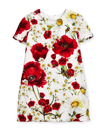 Short-Sleeve Floral Crepe Shift Dress, White/Multicolor, Size 8-12