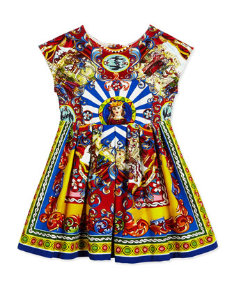 Cap-Sleeve Sicily Fit-and-Flare Dress, Multicolor, Size 8-12