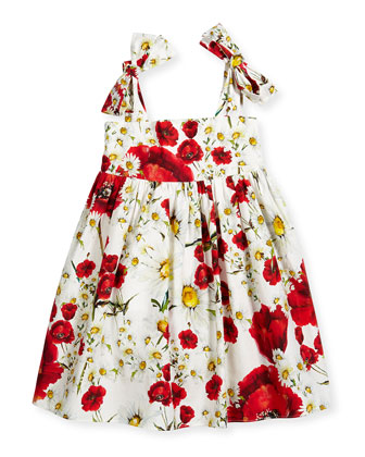 Sleeveless Floral Poplin A-Line Dress, White/Red, Size 4-6