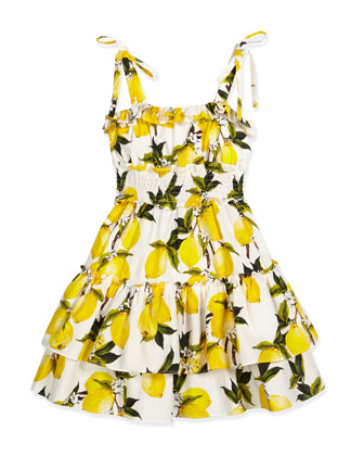 Sleeveless Poplin Lemon-Print Dress, White/Lemon, Size 4-6