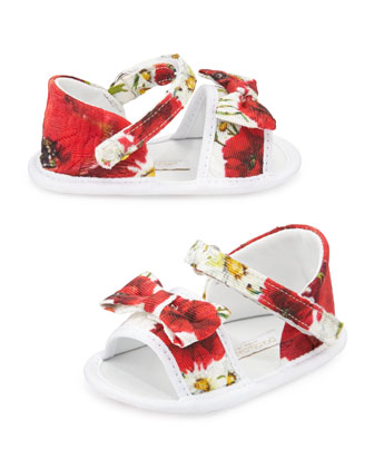 Floral Grip-Strap Sandals, White/Red, Infant