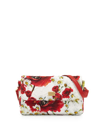 Girls' Floral Crossbody Bag, White/Red