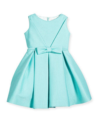 Sleeveless Pique A-Line Dress, Aqua, Size 7-14