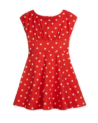 fiorella sateen polka-dot dress, red, size 7-14