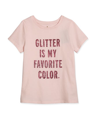 short-sleeve glitter tee, pastry pink, size