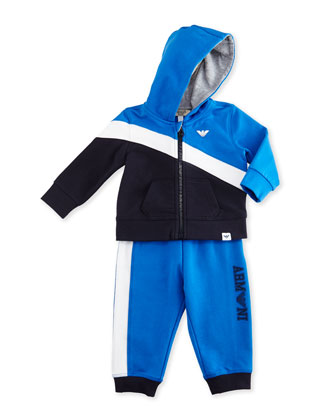 Colorblock Hooded Track Jacket & Pants, Navy/Blue/White, Size 12-24 Months