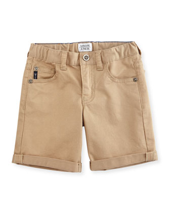 Twill Five-Pocket Shorts, Moccasin, Size 2-8