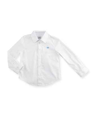 Stretch Button-Front Poplin Shirt, White Wash, Size 2-8