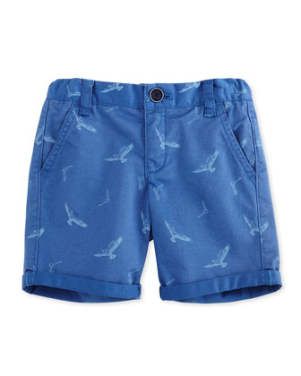 Printed Cotton-Blend Twill Shorts, Blue, Size 10-14