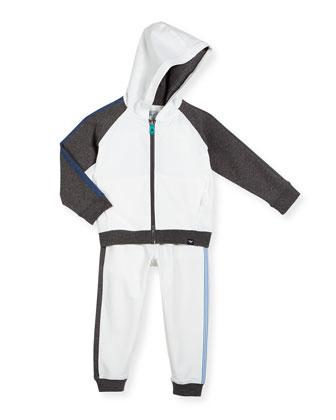 Striped-Trim Hooded Jacket & Pants Set, Navy/White, Size 10-14