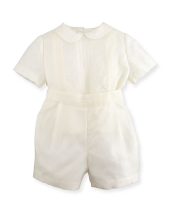 Silk Organza Pleated Shirt & Shorts, Ivory, Size 6-18 Months