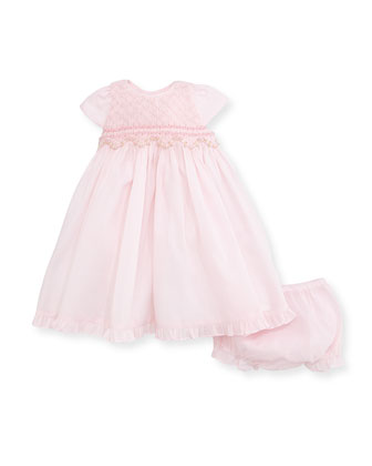 Short-Sleeve Embroidered A-Line Dress, Pink, Size 12-24 Months