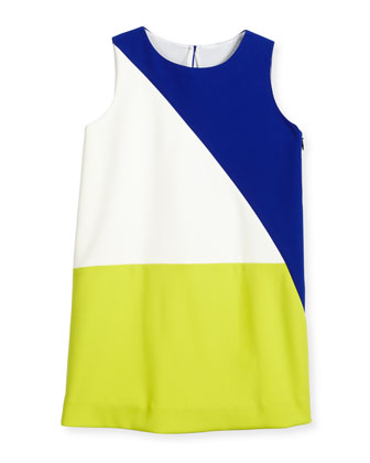 Italian Cady Colorblock Shift Dress, Multicolor, Size 4-7