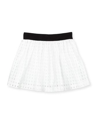 Mesh Gingham A-Line Skirt, White, Size 4-7