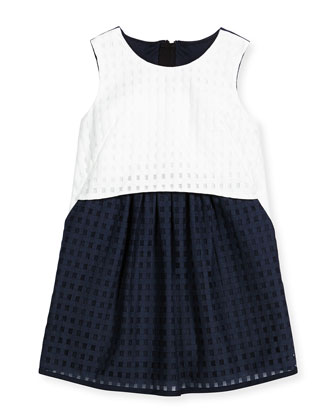 Ari Mesh Gingham Shift Dress, Blue/White, Size 8-14