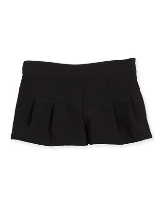 Italian Cady Pleated Shorts, Black, Size 8-14