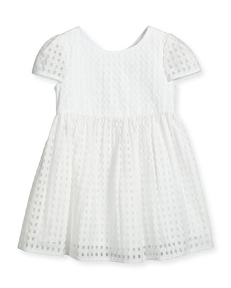 Lucy Gingham A-Line Dress, White, Size 8-14
