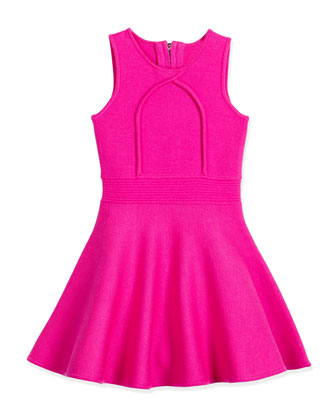 Sleeveless Knit Fit-and-Flare Dress, Fuchsia, Size 8-14