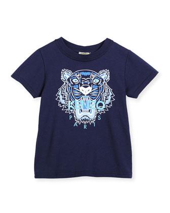 Short-Sleeve Tiger Jersey Tee, Blue, Size 6-12