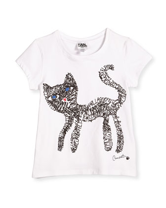 Short-Sleeve Cat Scribble Jersey Tee, White, Size 4-5