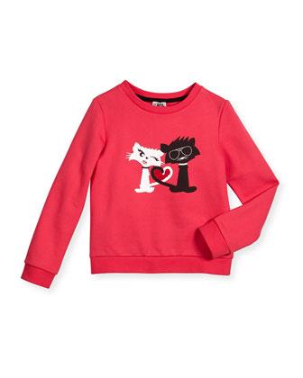 Cotton Cat Pullover Sweatshirt & Stretch Denim Shorts