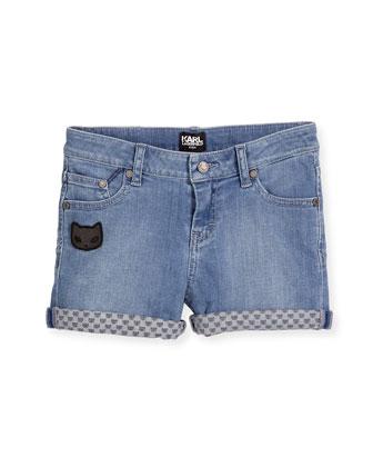 Cat-Detail Stretch Denim Shorts, Light Blue, Size 6-10