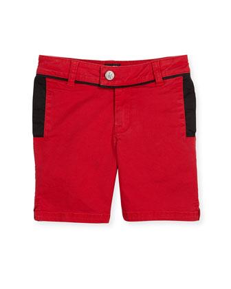 Short-Sleeve Cotton Jersey Logo Tee, Black, Size 6-10