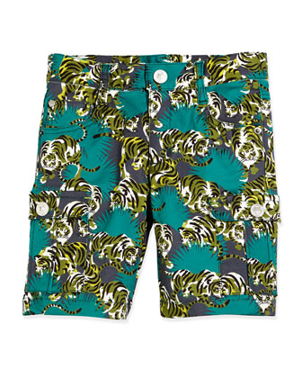 Tiger-Print Cargo Bermuda Shorts, Emerald, Size 5