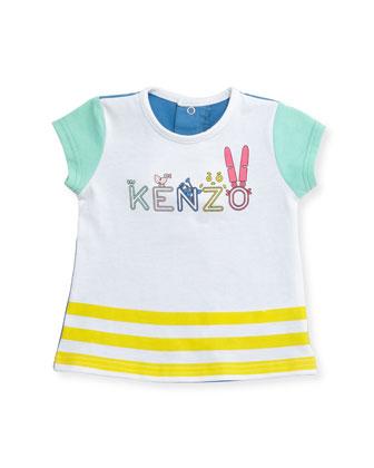 Short-Sleeve Colorblock Logo Tee, White/Multicolor, Size 3-4