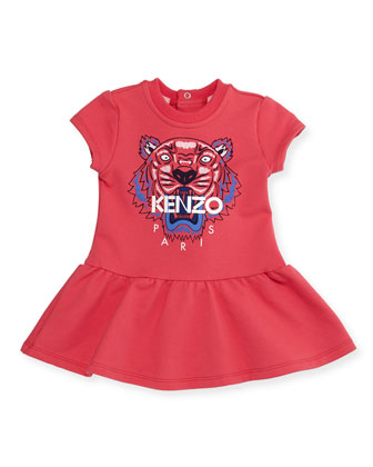 Cap-Sleeve Tiger Fit-and-Flare Sweat Dress, Fuchsia, Size 3-4
