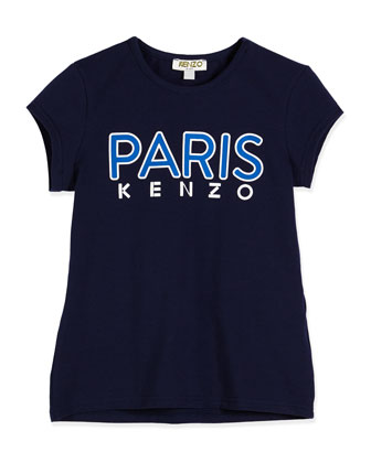 Paris Cotton-Blend Jersey Tee, Blue, Size 6-12