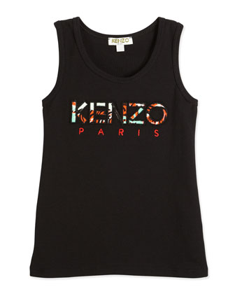 Ribbed Embroidered Cotton-Blend Tank, Black, Size 6-12