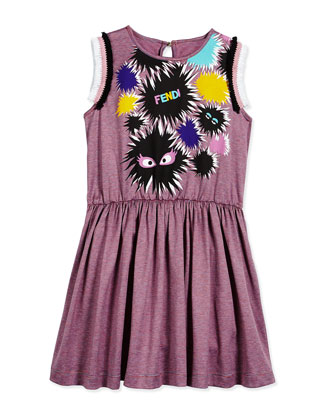 Sleeveless Striped Monster A-Line Dress, Pink/Gray, Size 10-12