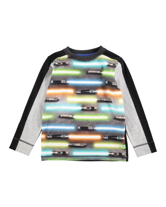 Long-Sleeve Raso Light Swords Jersey Tee, Black/Multicolor, Size 4-6