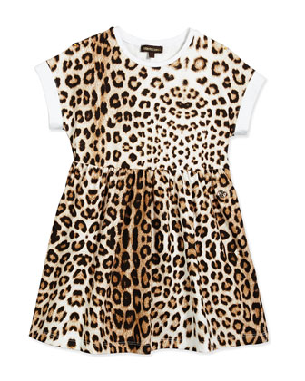 Leopard-Print Jersey Dress, Tan, Size 2-6