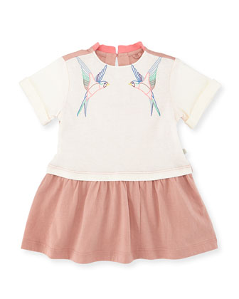Jess Dropped-Waist Pear Bird Jersey Dress, Cream, Size 12-24 Months