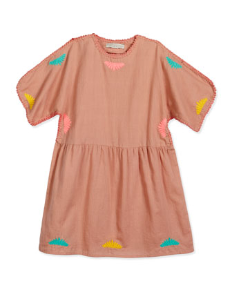 Bunting Embroidered Cotton Dress, Pink, Size 8-14