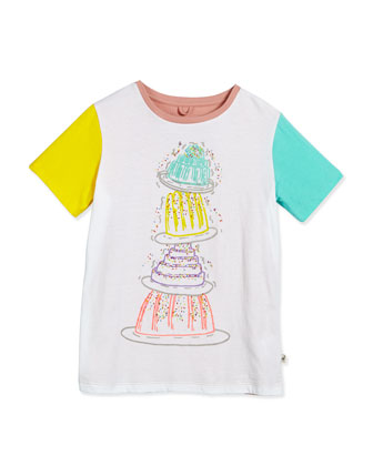 Arlo Tiered Cake Jersey Tee, White, Size 8-14