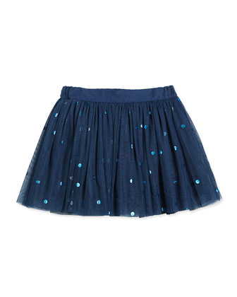 Tulle Polka-Dot Skirt, Sailor Blue, Size 4-14
