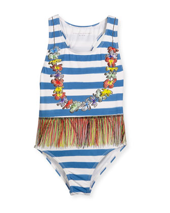 Marcie Striped Lei Swimsuit, Blue, Size 4-8