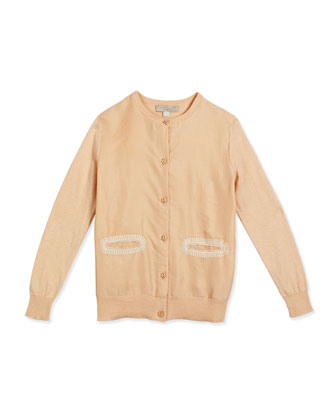 Georgia Silk Button-Front Cardigan, Pink, Size 2-10