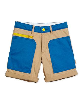 Joe Twill Colorblock Shorts, Blue, Size 4-10