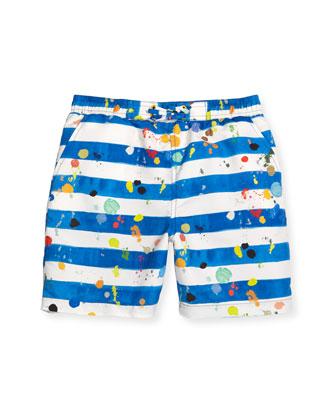 Taylor Striped Splatter Swim Trunks, Blue, Size 4-10